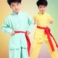 2017 Китайский Стиль Дети Китайский Кунг-Фу Боевые искусства Униформа Мальчики Девочки Ушу Костюмы Тай-Чи Одежда Набор
