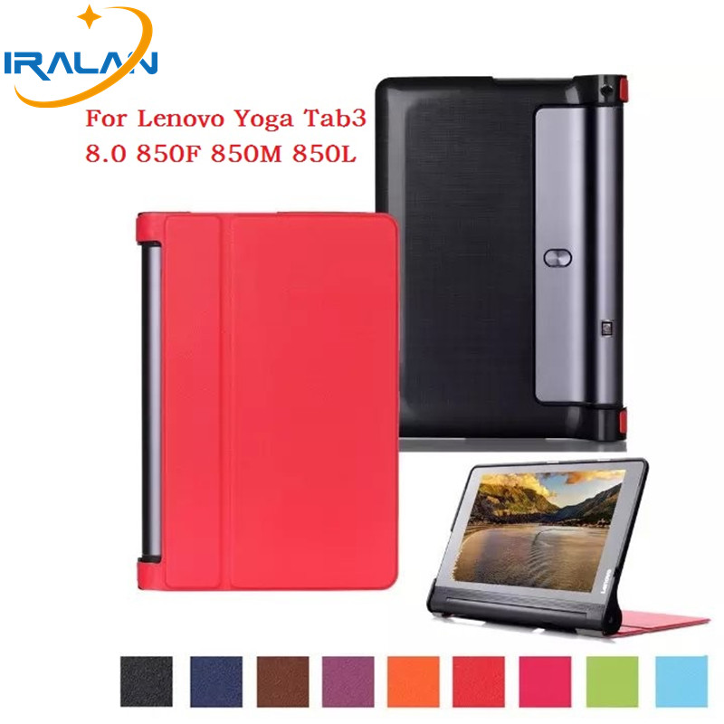 2018 Hot ultra thin smart PU leather stand cover case for lenovo Yoga tab 3 8 850F 850M 850L tablet Folio Protective+film+stylus