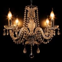 Yonntech 4 Arm Kristall Kronleuchter Decke Lichter Kerze Anhänger Lampe Dekoration Zimmer DIY Moderne