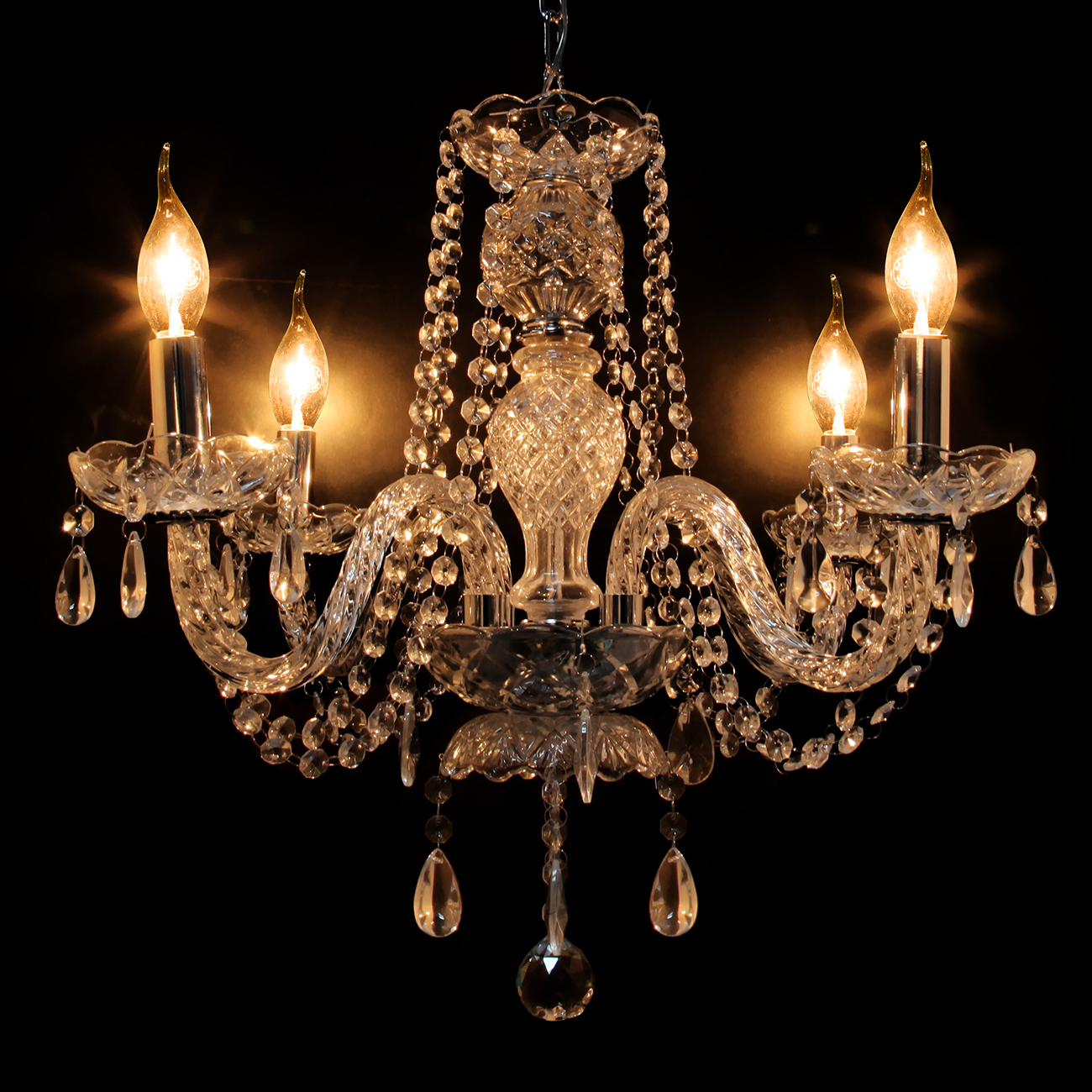 Yonntech 4 Arm Crystal Chandelier Ceiling Lights Candle Pendant Lamp Decoration Room DIY