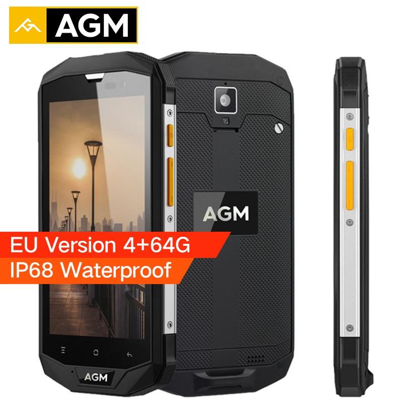 AGM A8 ЕС Версия IP68 Водонепроницаемый телефон 5,0 дюймов Snapdragon MSM8916 4 ядра 4 ГБ Оперативная память 64 ГБ Встроенная память 4050 мАч 13MP OTG 4 г смартфон