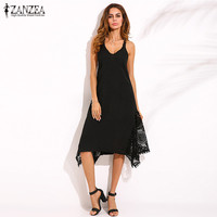 ZANZEA Newest Womem Sexy Halter V Neck Sleeveless Dress Spaghetti Strap Zipper Lace Hem Solid Loose