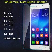 Protetor de tela de vidro temperado para universal 4.3 4.5 4.7 5.0 5.3 5.5 6.0 polegada geral temperado protetor de película protetora