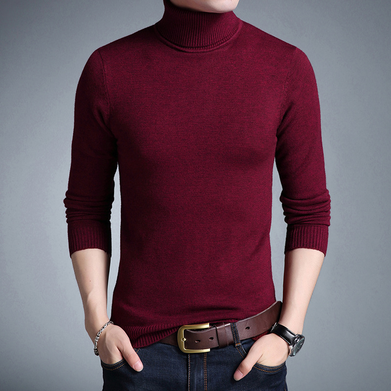 New Knitted Turtleneck Sweater Long Sleeve Pullovers Man Autumn Winter Solid Color Red Grey Black Sweater Slim Fit Sweaters Male