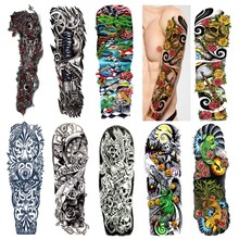 Full Arm Waterproof Temporary Tattoo Sticker 3pcs Large Skull Mechanical Arm Tattoos Stickers Cool Men Women Body Art Paints 4pcs lot waterproof temporary tattoos sticker full arm mechanical pattern tattoos applique arm full arm tattoos sticker 48 x17