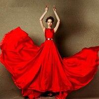 Свадебные платья sexy see through вернуться Дизайн Вечернее Платье 2016 красного атласа длинные Вечерние платья с золотыми поясами бисероплетение с
