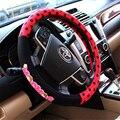 Popular 38 cm bela rosa vermelho colorido do ponto do carro tampa da roda de direcção do carro acessórios de moda para senhoras e meninas lzh