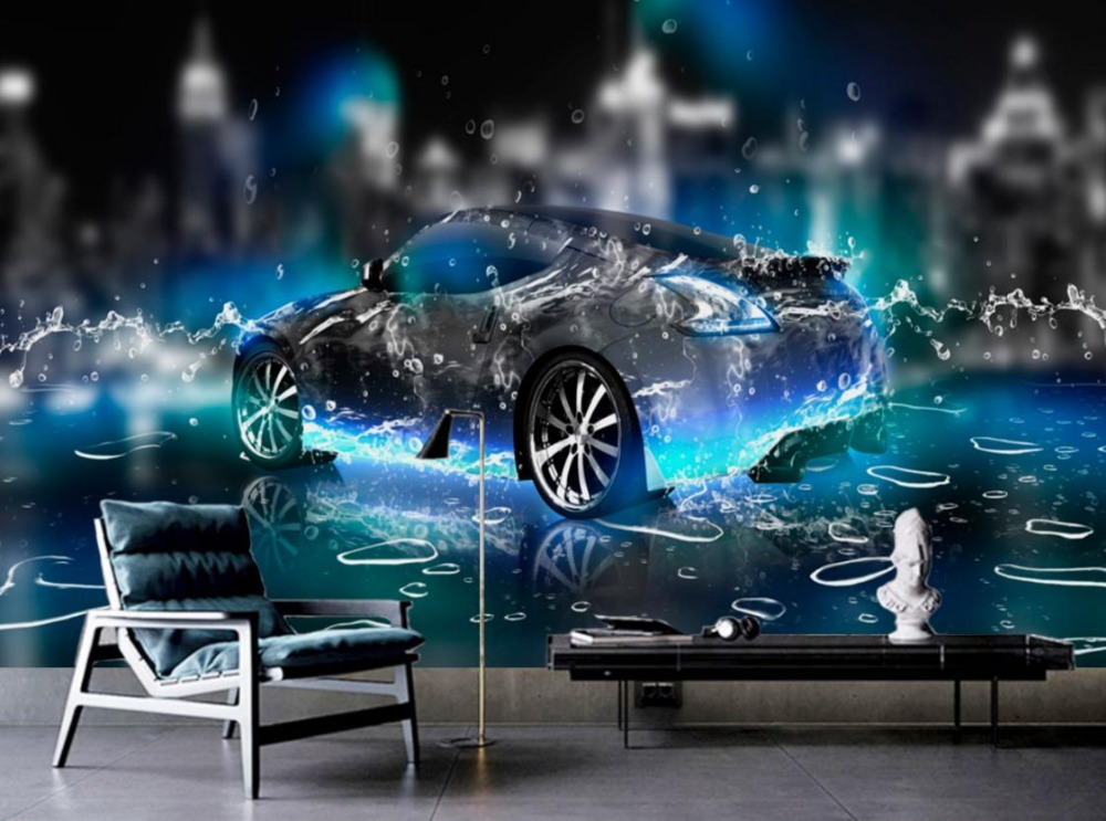 HD Wallpaper For Bedroom Walls Water sports car 3d Wall paper For Living Room Photo Non-woven 3d Stereoscopic Wallpaper shinehome black white cartoon car frames photo wallpaper 3d for kids room roll livingroom background murals rolls wall paper
