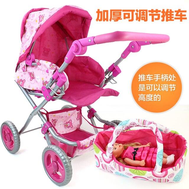 Cochecito de bebé de rueda grande, juguete para niña, juguetes para juego de imitación, muebles, cochecito, muñeca, cochecito, Putter de espesamiento ajustable