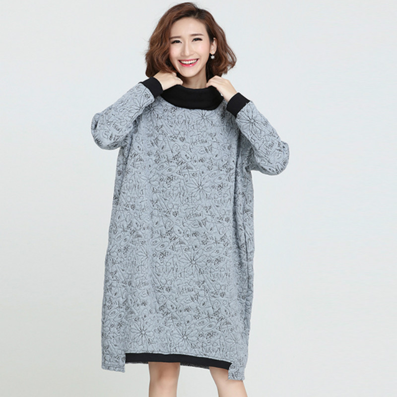 Detail Feedback Questions about P Ammy Fashion Plus Size Turtleneck Long  Sleeve Padded Cotton Jumper Dress Warm Thickened cotton vogue Loose Tunic  pullover ... 832eaf803418