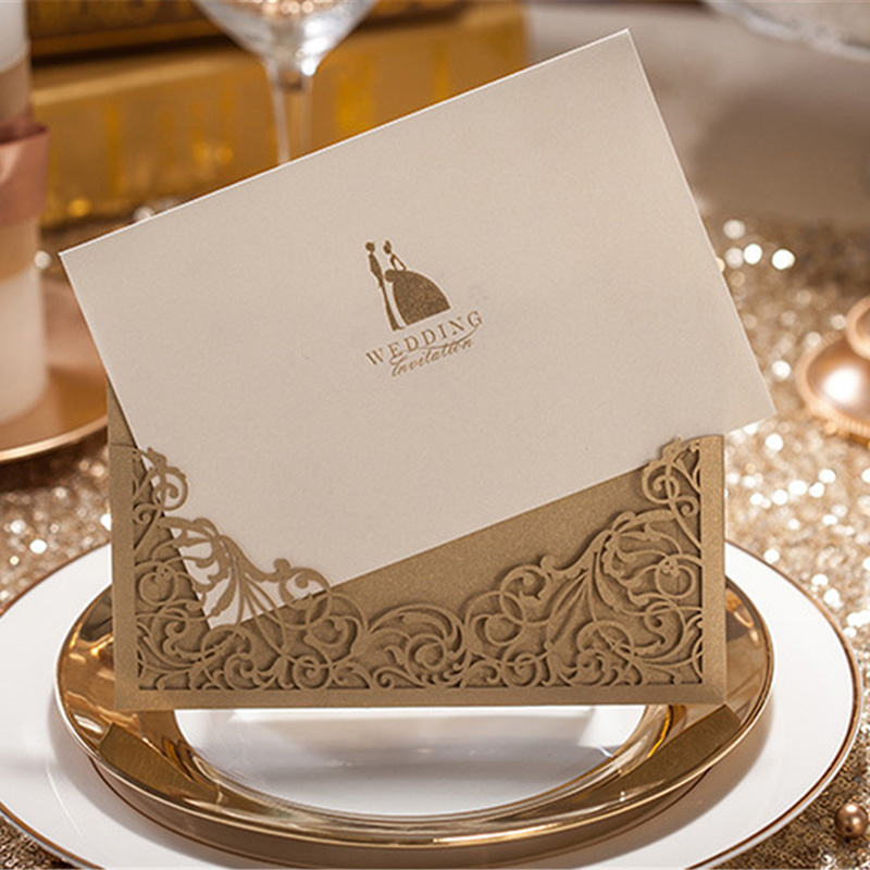 2017 New 1pcs Sample Gold Laser Cut Wedding Invitations Card Personalized  Custom Printable Wedding Cards With