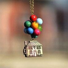 Colar vintage do filme balão para cima, colar longo com pingente de contas coloridas