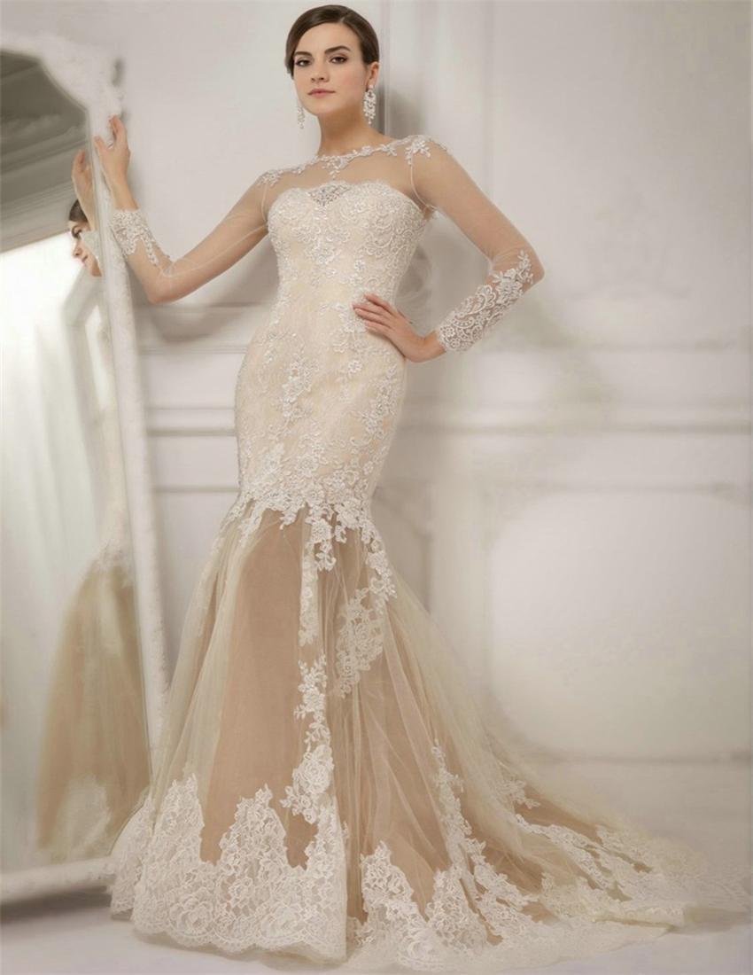 Robe De Mariage Ivory Lace Long Sleeve Wedding Dresses 2017 Mermaid