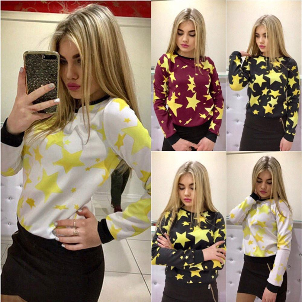 Autumn Spring New Fashion Women Casual Long Sleeve Stars Print Sweatshirt Jumper Casual Womens Pullover Loose Tops Sweatshirts in Hoodies amp Sweatshirts from Women 39 s Clothing
