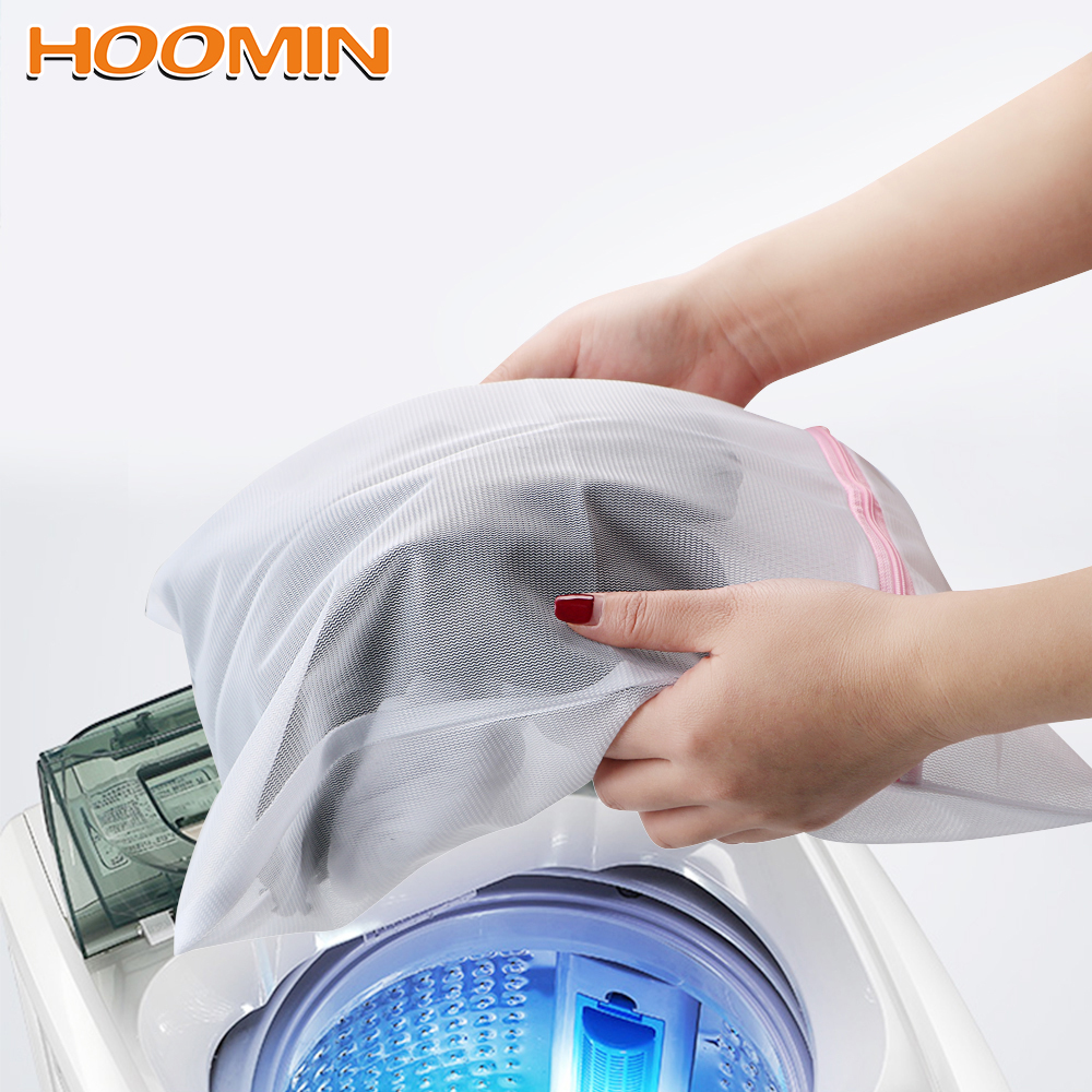 HOOMIN 3 Sizes Laundry Bags Zippered Laundry Clothes Washing Machine Mesh Bag Foldable For Bra Underwear Socks Clothes