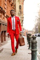 2017 Latest Coat Pant Designs Red Casual Men Suit Slim Fit Skinny 2 Piece Tuxedo Prom Suits Fashion Blazer Vestidos jacket+Pant