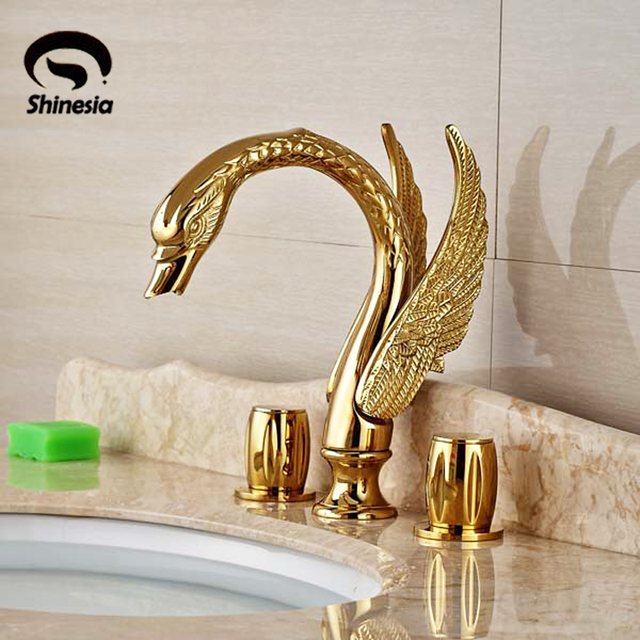 Luxury Golden Br 3pcs Bathroom Sink Faucet Basin Mixer Tap Swan. Delta  Lahara Stainless 2 Handle ...