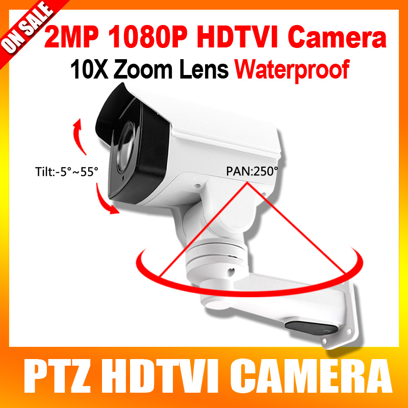 HD 1080P TVI PTZ Camera Outdoor 10X Optical Zoom 5.1-51mm Lens Pan/Tilt rotation IR 80M 2MP Security Bullet CCTV Camera ccdcam 4in1 ahd cvi tvi cvbs 2mp bullet cctv ptz camera 1080p 4x 10x optical zoom outdoor weatherproof night vision ir 30m