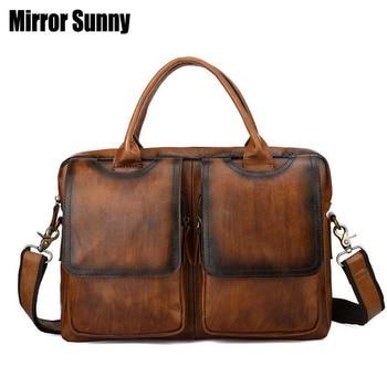 Head Layer Cowhide Men's Briefcase Genuine Oil Wax Leather Male Handbags Laptop Bag Vintage Business Document Bag Crossbody Bag