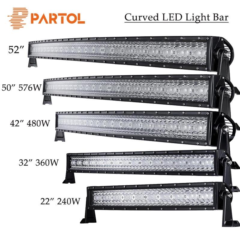 """Partol 14 """"22"""" 32 """"42"""" 52 """"50"""" 144W 240W 360W 480W 600W 576W třířadá zakřivená LED světelná lišta Offroad pracovní světlo 4WD 4x4 karavan ATV"""