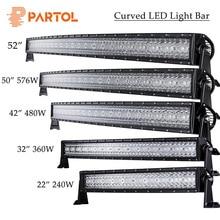Precio más barato Patrol 14 22 32 42 52 50 144 W 240 W 360 W 480 W 600 W 576 W tri-fila curvada Barra de luz LED Offroad trabajo luz 4WD 4x4 Camper ATV