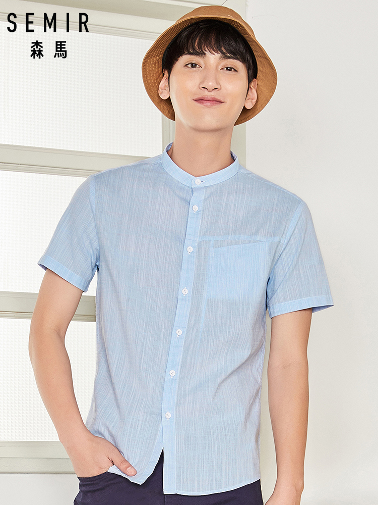 SEMIR Mens Collarless Shirt with Chest Pocket Men Regular Fit Short Sleeve Shirt 100% Cotton Mens Casual Shirts Male Top Summer