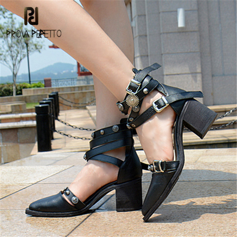 Prova Perfetto Black Rivet Studded Women High Heels Summer Sandals Pointed Toe Straps Buckle Dress Shoes Women Pumps Stiletto