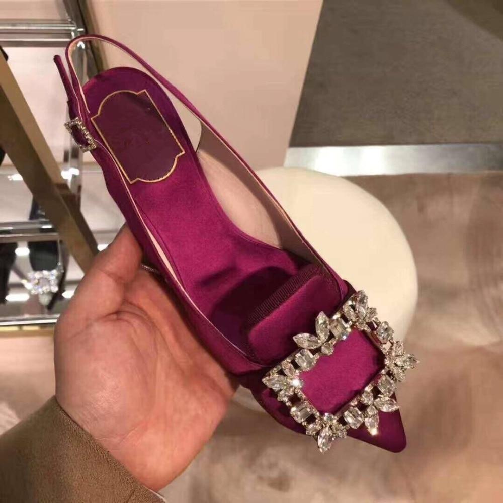 Kmeioo 2019 offre spéciale mode été chaussures femme bout pointu Med talons bijou sandales Slingback pompes cristal talons chaussures de mariage - 2