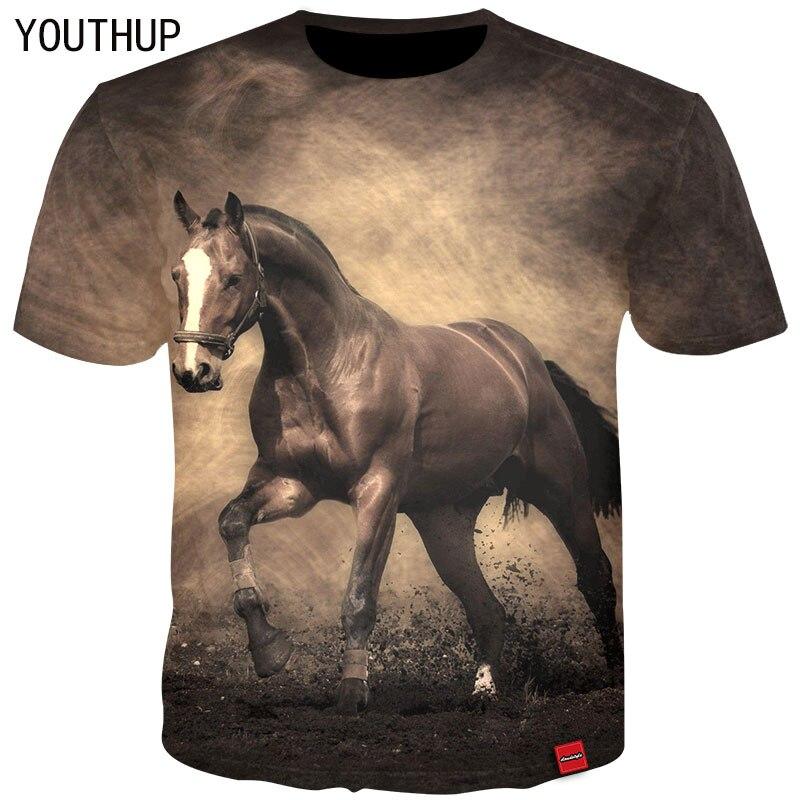 YOUTHUP 2018 Men T-Shirt 3D Print Animal Horse Tees Short Sleeve O-Neck Cool T-Shirt Summer Tops Streetwear T shirts Plus Size