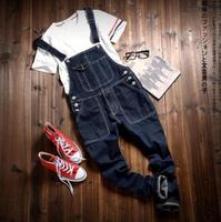 2015 Fashion New Mens Cargo Slim Fit Skinny Jeans Overall Scratch Detachable Suspenders Pants Size M