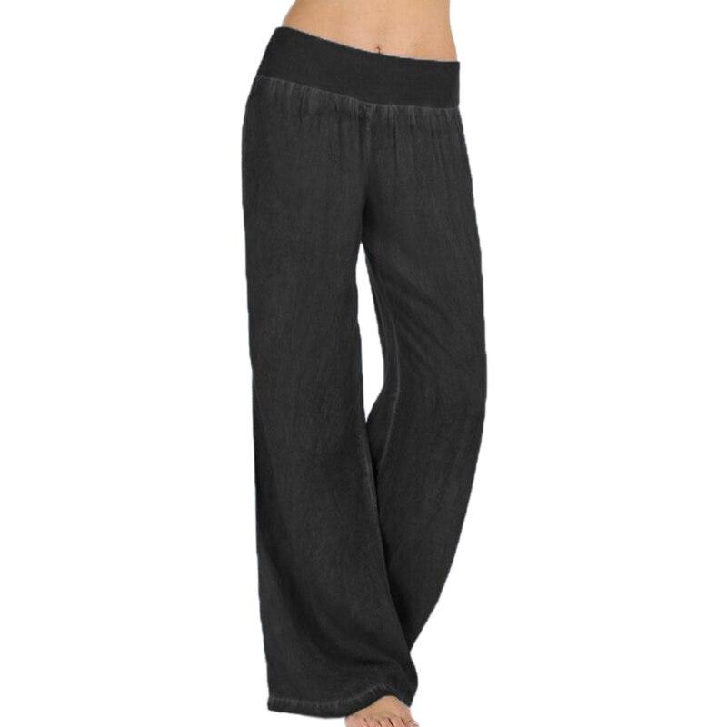 2020 Plus Size Women High Waist Waist Wide Leg Pants Denim Blue Jeans Long Party Palazzo Ladies Elegant Trouser