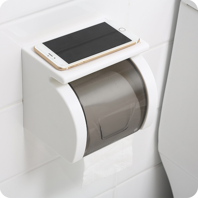 Fashion White ABS Bathroom Paper Holder With Shelf Bathroom Mobile Best Bathroom Paper