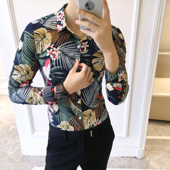 YC047 * 2018 fashion male flower shirt long sleeve shirt, coat the KTV night club DJ flower shirt P50