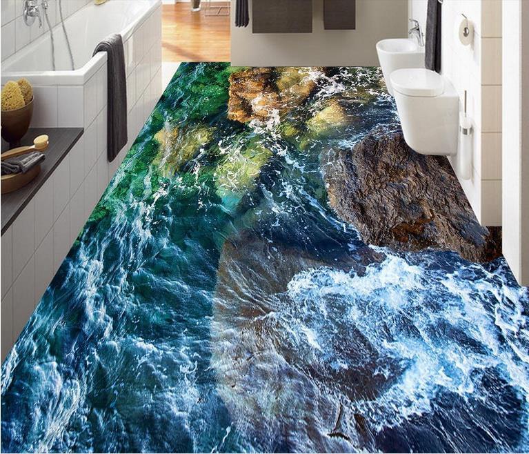 3d Wallpaper Custom Floor Tiles Stone Coast Pvc Vinyl Mural Waterproof
