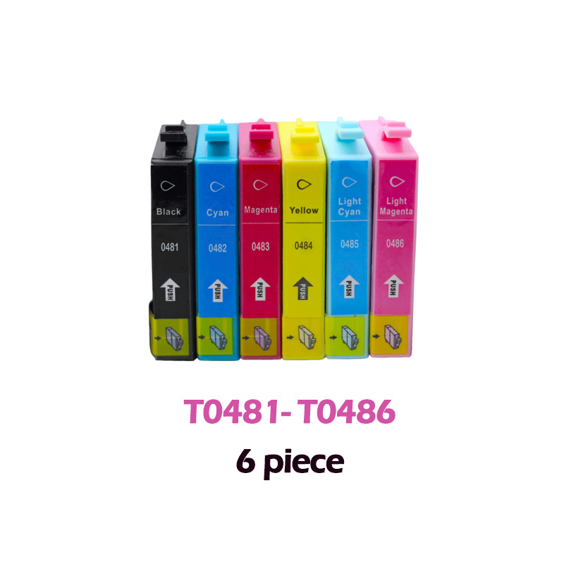 T0481 compatible ink cartridge For Epson Stylus Photo R200 R220 R300 R300M R320 R340 RX500 RX600 RX620 RX640 Printer 6pcs Full image