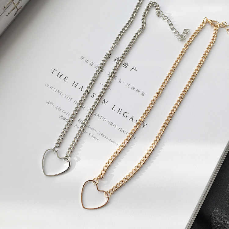 Ms.accessories Wholesale Necklace Punk Fashion Wild Necklace 2017 New Gold / Silver Sexy Hollow Love Heart Peach Necklace For