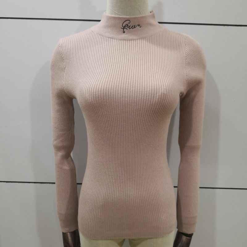 가을 겨울 여성 니트 스웨터 캐주얼 긴 소매 터틀넥 풀오버 탑 2019 자수 편지 니트 얇은 스웨터