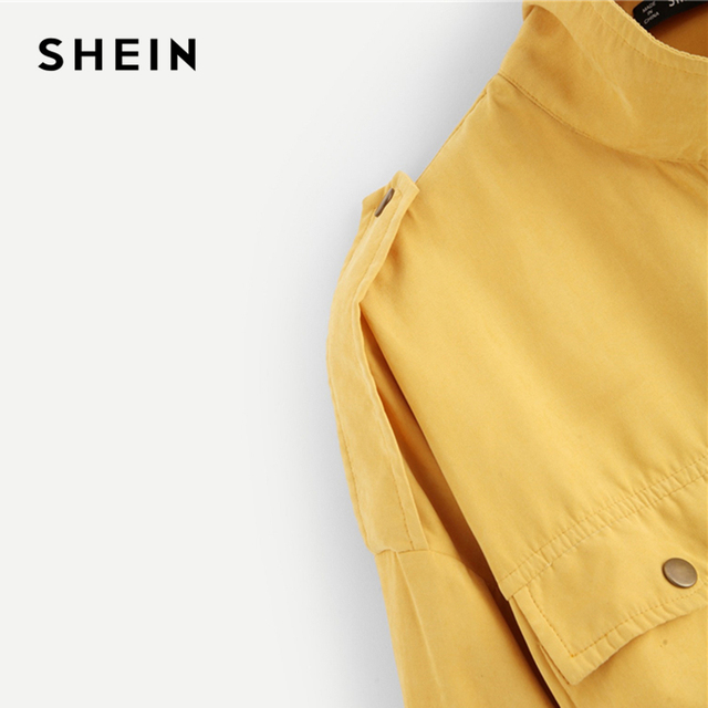 SHEIN Casual Yellow Button Pocket Front Stand Collar Single Breasted Plain Jacket Autumn Modern Lady Women Coat Outerwear 8