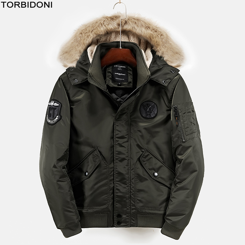 Polyester Winter Jackets And Coats For Men Thick Warm Flight Jacket Coat Fashion Casual Embroidery Logo Men Military Air Parka