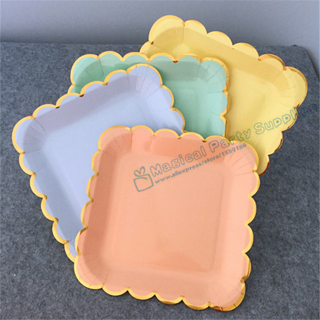 160pcs Square 23cm Pink Blue Mint Yellow Disposale Wedding Tableware Paper Plates Gold Foil for Modern : pink and blue paper plates - pezcame.com