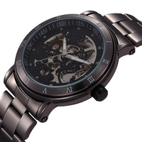 New Chronograph Clock 3ATM Automatic Stainless Men Full Steel Skeleton Watch Men Mechanical Mens Watch Wristwatch