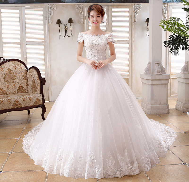 Floral Lace Shoulder Royal Train Wedding Dress Appliques Boat Neck ...
