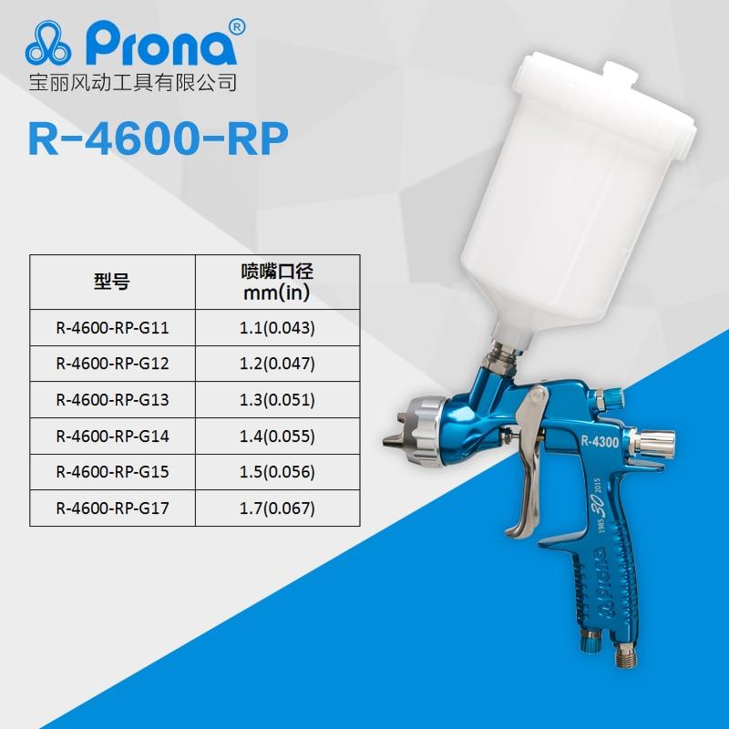 Prona R-4600 MP HVLP, pistolet manuel avec gobelet en plastique 600cc, livraison gratuite, peinture de réparation de voiture, R4600, type d'alimentation par gravité