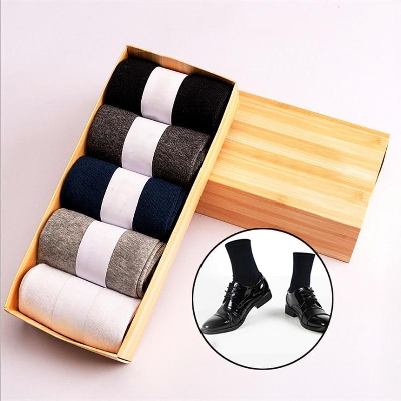 New 1Box Cotton Casual Mens Socks 5 Pairs Winter Warm Soft Socks Comfortable Breathable Crew Socks