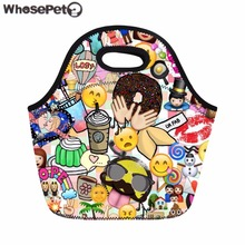 WHOSEPET Lunch Bag Funny Emoji Print Portable Picnic Bag Kids Lunch Bag Women Thermal Lunchbox Insulated Snack Food Storage Bag