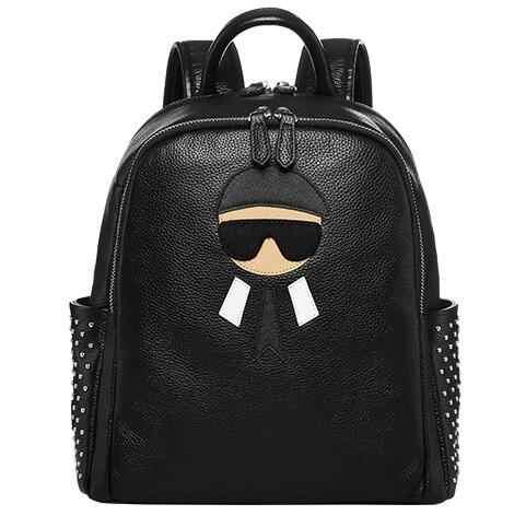 Joyloading Solid Color Cartoon Genuine Leather Children Preppy Students  Schoolbag Shoulders Backpack 0be62d8158