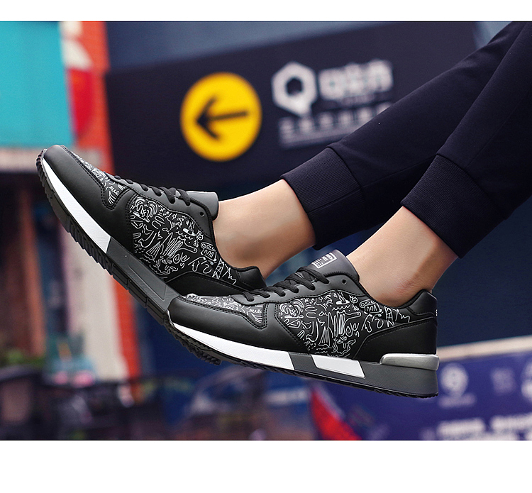 2017 Spring Graffiti Valentine Shoes Women Flat Heel Lace Up Leather Casual Shoes Plush Size 44 Low Top Sport Outdoor Shoes ZD43 (60)