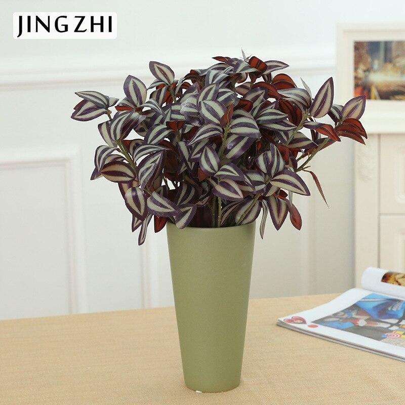 La 3 feuille mur végétal décoration Ameublement à sourcils fourche avec bois colle vert feuilles en gros fleurs artificielles pas cher