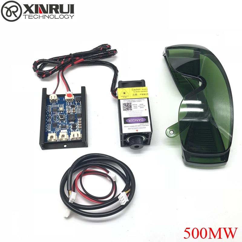 500 MW 405NM enfoque azul violeta módulo láser grabado, con TTL control tubo láser diodo + gafas