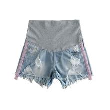 2017 spring and summer shorts pregnant women denim shorts fashion break maternal shorts loose waist mantle pregnant clothes